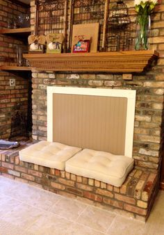 Fireplace cover -use white bead board Fireplace Cover Up, Fireplace Screens, Fireplace Inserts, Fireplace Mantels, Fireplace Ideas, Fireplace Redo, Brick Fireplace, Fireplace Draft Stopper, Childproofing