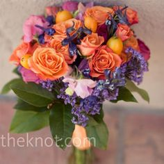 kumquat-bouquet this is as close of a purple/orange bouquet with fruit I could find. Obviously this would be a bride bouquet Coral Roses, Lilac Flowers, Orange Roses, Bridal Flowers, Beautiful Flowers, Orange Wedding, Fall Wedding, Wedding Ideas, Lilac Wedding