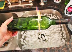 wine bottles into candle holders... not glasses, for me