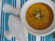Paleo Carrot ginger soup.  Staple at my house. I add a bay leaf and blend with an immersion blender. Adding cilantro, lime and red pepper flakes at end jazzes it up. Freezes well too.