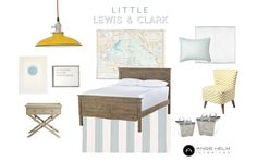 Cute boys room. brown bed. gray rug. yellow light.