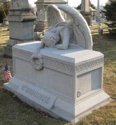 Grieving angel, Green-Wood Cemetery, Brooklyn, New York.