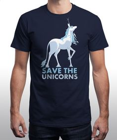 """""""Save the Unicorns"""" is today's £8/€10/$12 tee for 24 hours only on www.Qwertee.com Pin this for a chance to win a FREE TEE this weekend. Follow us on pinterest.com/qwertee for a second! Thanks:)"""
