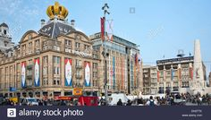 Netherlands, Amsterdam, 30 April 2013, Corronation, succession, King Willem-Alexander. Decorated buildings Stock Photo