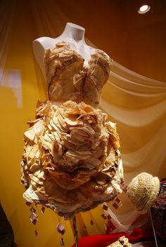 My college project at RISD in a Ripley's Museum somewhere. Dress made out of coffee filters dyed in 10 flavors of tea.