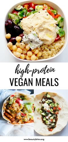 15 high-protein vegan meals to add to your meal plan this week! These easy and healthy plant based recipes include breakfast lunch and dinner and youll love them even if youre not vegan! High Protein Snacks, High Protein Dinner, High Protein Vegetarian Recipes, Vegetarian Recipes Dinner, Vegan Foods, Vegan Dinners, Lunch Recipes, Healthy Recipes, Breakfast Recipes