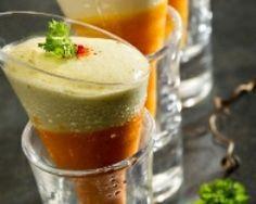 Verrines de crème de carottes et mousse de chèvre (facile, rapide) - Une recette CuisineAZ
