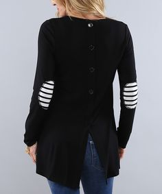 Another great find on #zulily! Coco and Main Black Elbow-Patch Tunic - Women by Coco and Main #zulilyfinds
