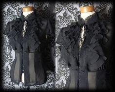 Gothic Black Sheer Frilled Bib MISTRESS High Neck Blouse 12 14 Victorian Vintage