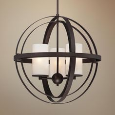 "Morris 21"" Wide 3-Light Bronze Sphere Pendant Light"