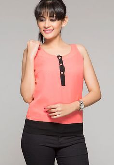 ITI Sleeve Less Solid Orange Top RS.799/-