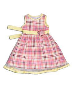 Pink & Yellow Plaid Rosette Dress - Infant, Toddler & Girls