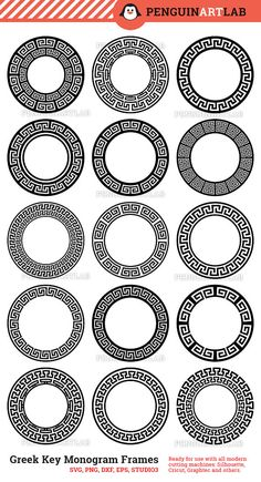 Greek Key Circle Monogram Frame SVG Cut Files for Vinyl Cutter - Cricut, Silhouette, Screen Printing