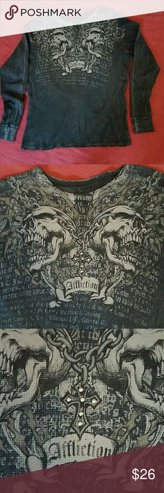 """Men's Affliction Distressed Tee Cotton Long-Sleeved Tee. Distressed hem and sleeve cuffs. Studded cross necklace is featured on the front. Chain link detail goes around back. Chest 22"""" across. Length 27."""" Affliction Shirts Tees - Long Sleeve"""