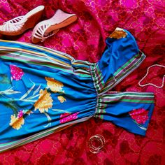 Floral sundress, cute wedges, pearls & bangles. Perfect for my brothers rehearsal dinner!