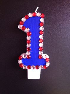 Red White & Blue Birthday Candle by TheCraftyPair on Etsy, $10.00