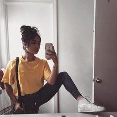 """14.2k Likes, 76 Comments - JAZMIN GONZALEZ (@jazminsus) on Instagram: """"im hungry.  top: @supremenewyork jeans: @topshop shoes: @vans #mustard #yellow #mustardyellow…"""""""