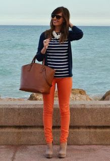 Clemson Girl: How to Wear Orange Jeans Orange Outfits, Orange Pants Outfit, Adrette Outfits, Preppy Outfits, Orange Jeans, Fall Winter Outfits, Spring Outfits, Orange Hose, Pantalon Orange
