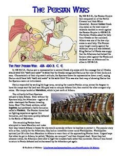 This is a fantastic 2-page reading on the two Persian Wars between the Greek city-states and Persia between 500 - 479 BCE.  Following the reading, students complete a worksheet and then a comic book project to visually tell the story of the Persian Wars!