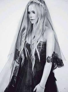 Avril Lavigne in her black wedding dress...