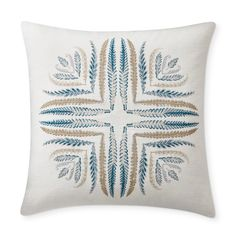 Densely feathered fronds arranged in a circular shape bring fresh, graphic appeal to our pillow cover. Woven on pure linen, the design is embroidered in colorful yarns that lend radiance to the flourishing pattern. Pillow Inserts, Pillow Covers, Linen Pillows, Throw Pillows, Beach Chic Decor, Ikat Pattern, Hand Applique, Jacquard Weave, Fabric Swatches