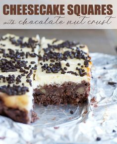 Cheesecake Squares with a Chocolate Nut Crust - Rich, creamy cheesecake squares with a chocolate walnut crust. One bite and you'll be in cheesecake heaven! Classic Desserts, Great Desserts, Delicious Desserts, Yummy Food, Dessert Ideas, Cheesecake Squares, Pumpkin Cheesecake, Chocolate Cream Cheese, Chocolate Tarts