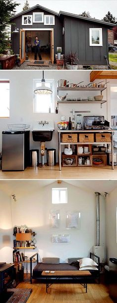 Convert an unused garage into a tiny house or a guest house! With smart storage ideas, it's the perfect home away from home.
