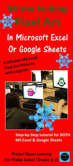 Need a fun way to introduce Microsoft Excel or Google Sheets to upper elementary or middle school students? This great lesson lets students learn the basics of Microsoft Excel (or Google Sheets) as they create pixel art using the program. First, they'll create a quick pixel art from a given example and then they'll create their own! These are also fun lessons to use if you just need something for a one day lesson.