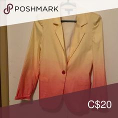 Material Girl Blazer Pink and Yellow dip dyed blazer lots of stretch and so comfy! Perfect colours for spring. Size L. Worn twice Material Girl Jackets & Coats Blazers Blazer Suit, Suit Jacket, Dip Dyed, Material Girls, Colored Blazer, Blazers, Jackets For Women, Comfy, Colours