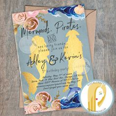 Mermaid and Pirate Birthday Party Invitation // Boy and Girl Beach Party Invitation // 1/2 Pirate 1/2 Mermaid Invitation // Boy Girls Pool Party Invitation // Twins Birthday Party Invitation by SoCalCrafty on Etsy. Printed or Printable. $16+