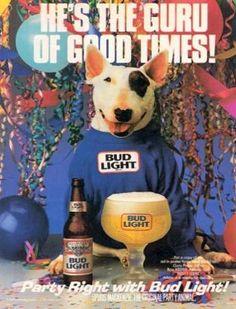 lights, 80s, party animals, memori, bull terriers, rememb, dog, spud mackenzi, spud mckenzi