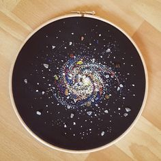 Galaxy embroiderie with jemstones. Galaxy embroidery with semi precious stones Hand Embroidery Stitches, Embroidery Hoop Art, Beaded Embroidery, Cross Stitch Embroidery, Cross Stitch Patterns, Embroidery On Clothes, Bead Sewing, Contemporary Embroidery, Cross Stitching