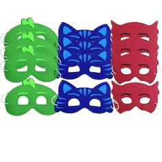 12 Childrens Favors Party Masks - Red, Green, Blue Superheros