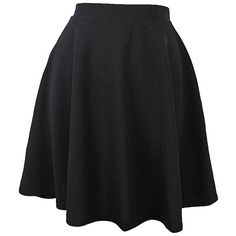 Black Flared Ponte Knit Skater Skirt ($25) ❤ liked on Polyvore featuring skirts, black, ponte knit skirt, ponte a line skirt, flared skirt, knee high skirts and knee length circle skirt
