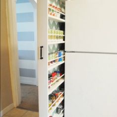 DIY Hidden storage: canned food storage cabinet. This amazing photo collections about DIY Hidden storage: canned food storage cabinet is available to Food Storage Cabinet, Canned Food Storage, Fridge Storage, Cabinet Space, Wall Storage, Craft Storage, Storage Design, Cabinet Ideas, Bathroom Storage