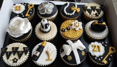 black, white & gold themed 21st birthday cupcakes - Cake by Elaine's Cheerful Colourful Cupcakes