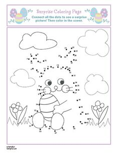 Easter Bunny Coloring Page & Connect the Dots