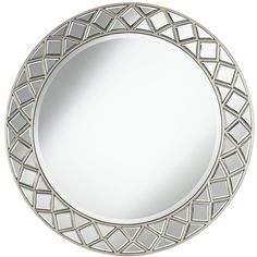 """Grannis Silver 33 1/2"""" Round Wall Mirror ($320) ❤ liked on Polyvore featuring home, home decor, mirrors, wall mirrors, silver home decor, modern mirror, modern home accessories and round mirror"""