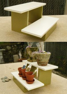 DIY mini plant stand.   SEAT N FOOT STOOL.....CAN KEEP PILLOW INSIDE BOX AREA FOR SITTING COMFORTABLY