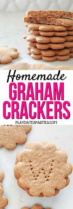 You AND the kids will be thrilled with these homemade graham crackers made with honey and cinnamon. Head over to playdatesparties.com to get the recipe, tips and tricks, and to find out how the kids can get involved in making them too! #cookingwithkids #kidfriendly #baking #recipe  https://playdatesparties.com/homemade-graham-crackers/