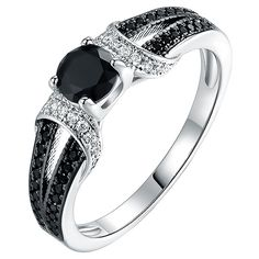 Barzel Black Onyx & Cubic Zirconia Silvertone Engagement Ring (33 AUD) ❤ liked on Polyvore featuring jewelry, rings, cz jewellery, cz jewelry, cubic zirconia engagement rings, cubic zirconia rings and cz engagement rings