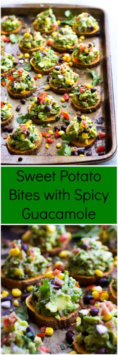 Personalized Graduation Gifts - Ideas To Pick Low Cost Graduation Offers Sweet Potato Bites With Spicy Guacamole - Colorful, Nutritious, And Full Of Flavor. Ideal For Game Day Littlebroken Baked Sweet Potato Slices, Sweet Potatoe Bites, Potato Bites, Potato Appetizers, Appetizer Recipes, Salad Recipes, Healthy Dinner Recipes, Vegetarian Recipes, Cooking Recipes