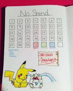 Bullet journal no spend tracker May