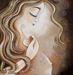 Art on canvas mother-to-be motherhood expectant long wavy hair red blonde light brown hair holding heart touching heart memories belly womb belly button eyes closed peace birth painting on canvas preggo gift for pregnant mom whimsica Blonde Light Brown Hair, Red To Blonde, Gifts For Pregnant Women, Birth Art, Pregnancy Art, Mother Art, Pregnant Mother, Doula, How To Draw Hair