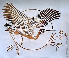 Вытынанка - Журавль Stencil Painting, Fabric Painting, Papercut Art, Traditional Japanese Art, Japanese Tattoo Art, Silhouette Clip Art, Art Japonais, Bird Art, Art Drawings