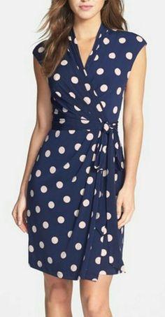 Main Image - Eliza J Polka Dot Jersey Faux Wrap Dress (Regular & Petite) Summer Work Dresses, Work Dresses For Women, Clothes For Women, Spring Dresses, Summer Outfits, Wrap Dress Diy, Faux Wrap Dress, Wrap Dresses, Lace Wrap