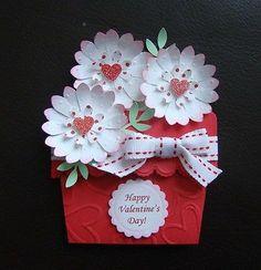 Stampin Up Handmade Valentine Flower Pot Card, Emboss, Giftcard Holder