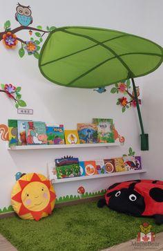Reading corner for preschool| Rincón de lectura para preescolar.