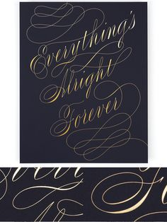 Foil stamped print with goldon navy blue // limited edition letterpress print by Enormous Champion NY // font: Burgues Script