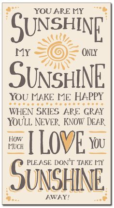 """Country Marketplace - You Are My Sunshine Wood Sign 24"""", $29.99 (http://www.countrymarketplaces.com/you-are-my-sunshine-wood-sign-24/)"""